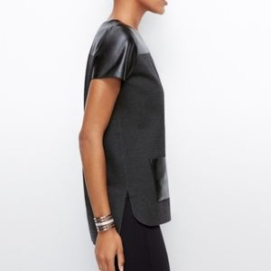 Ann Taylor Ponte And Faux Leather Top